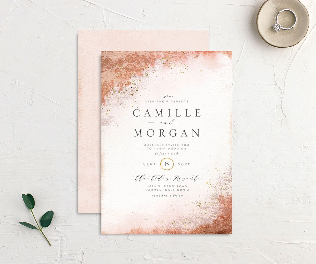 organic luxe wedding invitation in peach