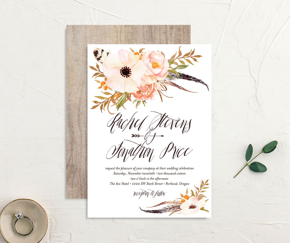 bohemian floral wedding invite in orange