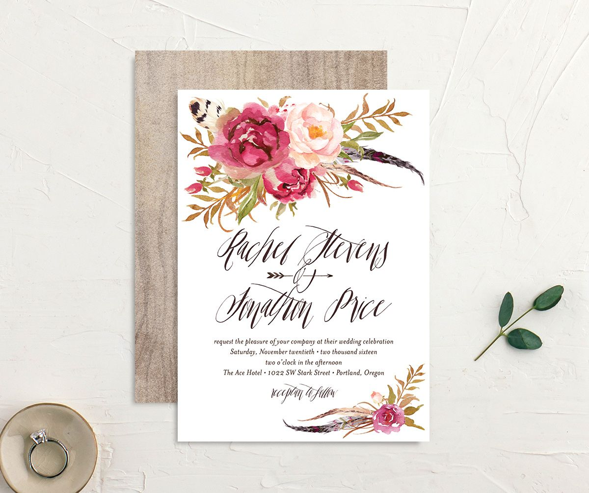 bohemian floral wedding invites in pink