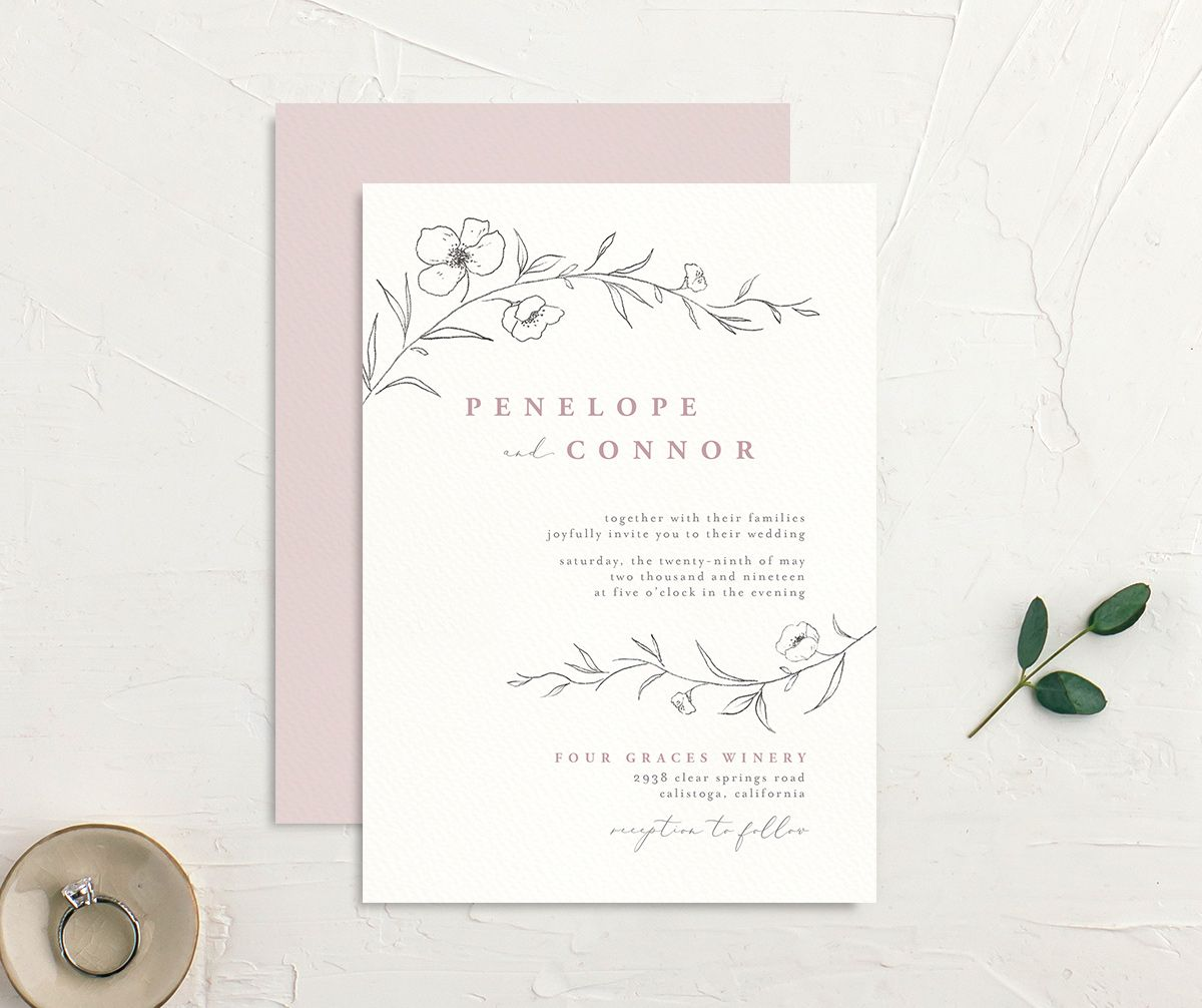 graceful botanical wedding invites in pink