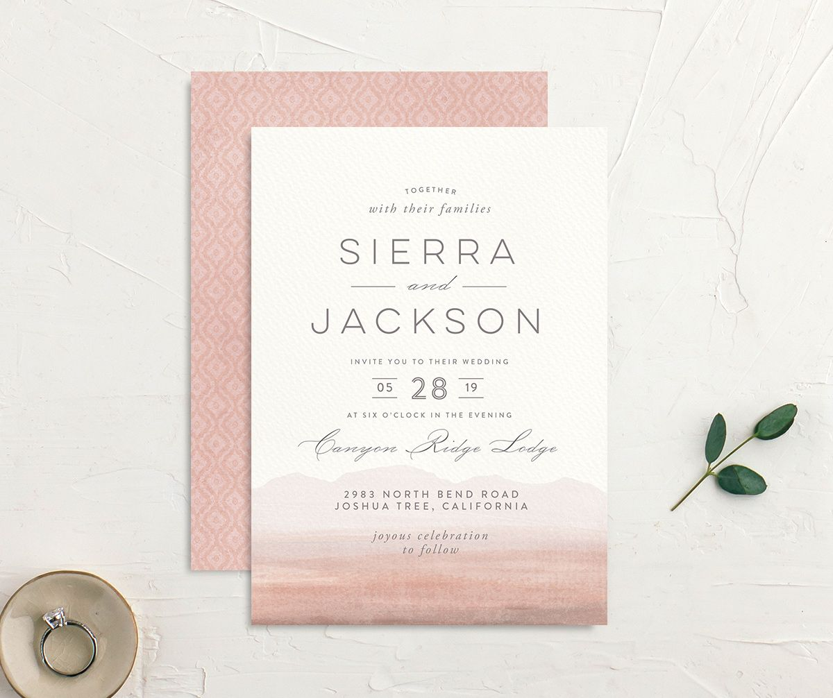 painted desert wedding invites in pink