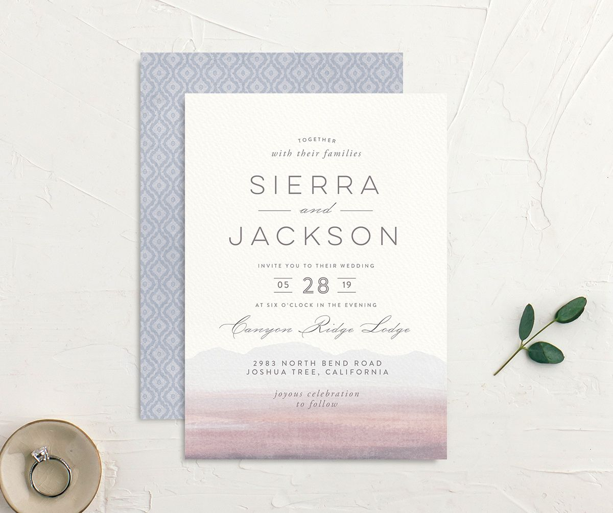 painted desert wedding invites in purple