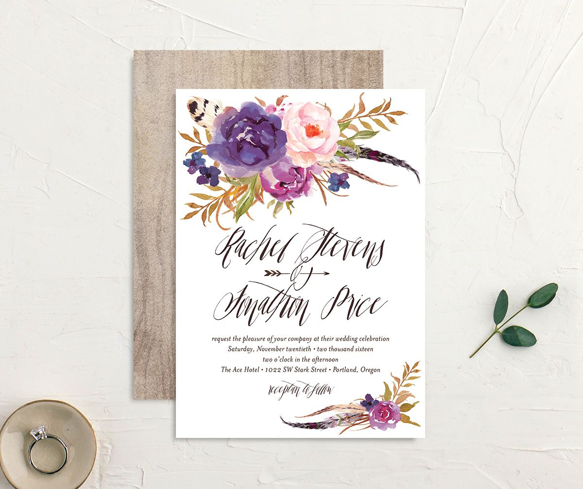 bohemian floral wedding invitation in purple