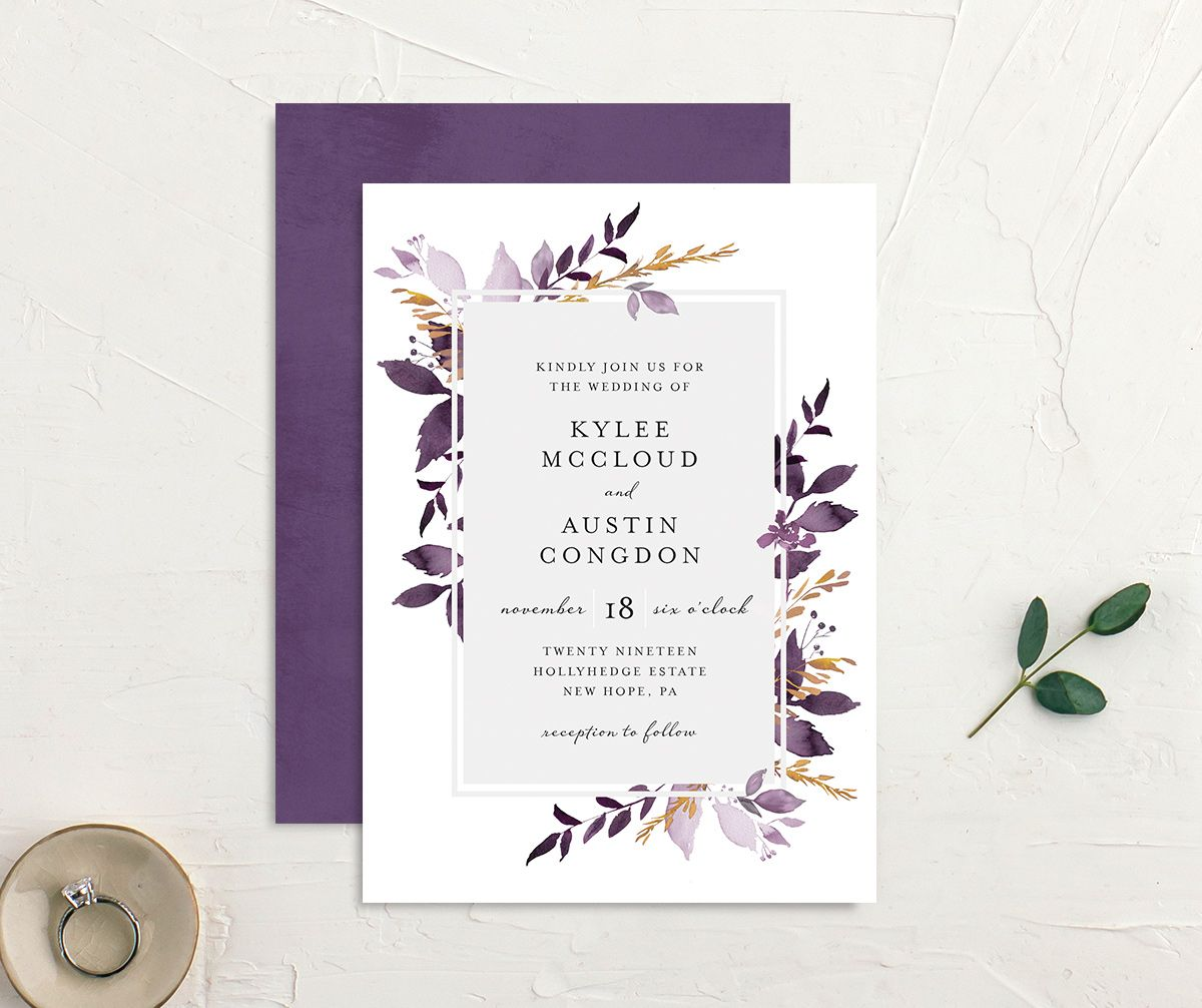 leafy frame wedding invites in purple