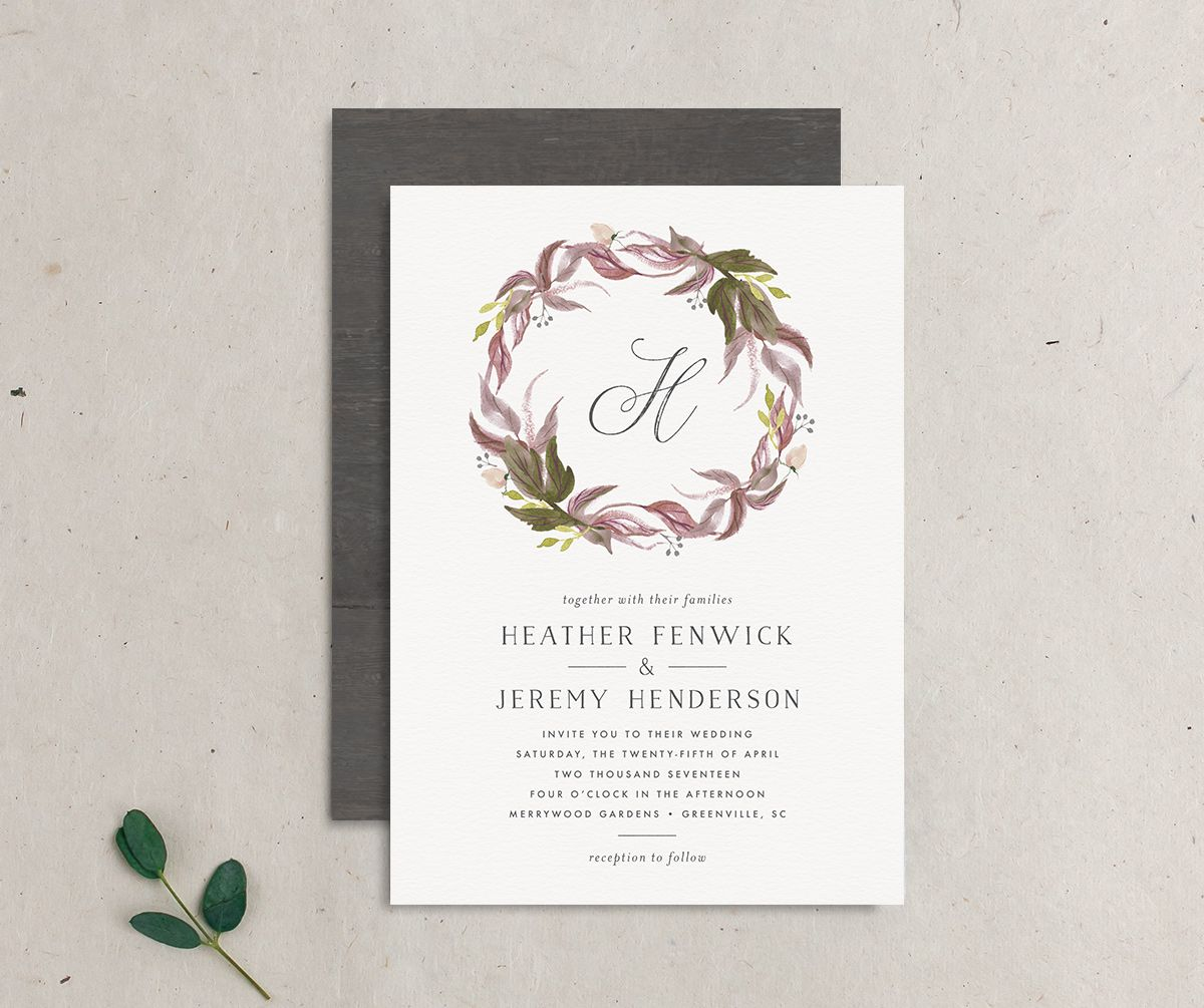 leafy wreath monogram wedding invite in purple