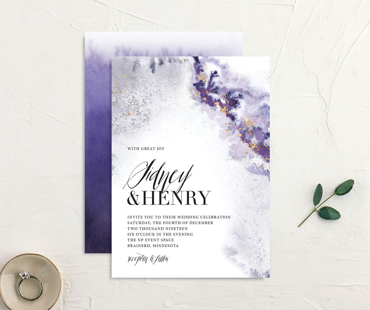painted ethereal wedding invites in purple