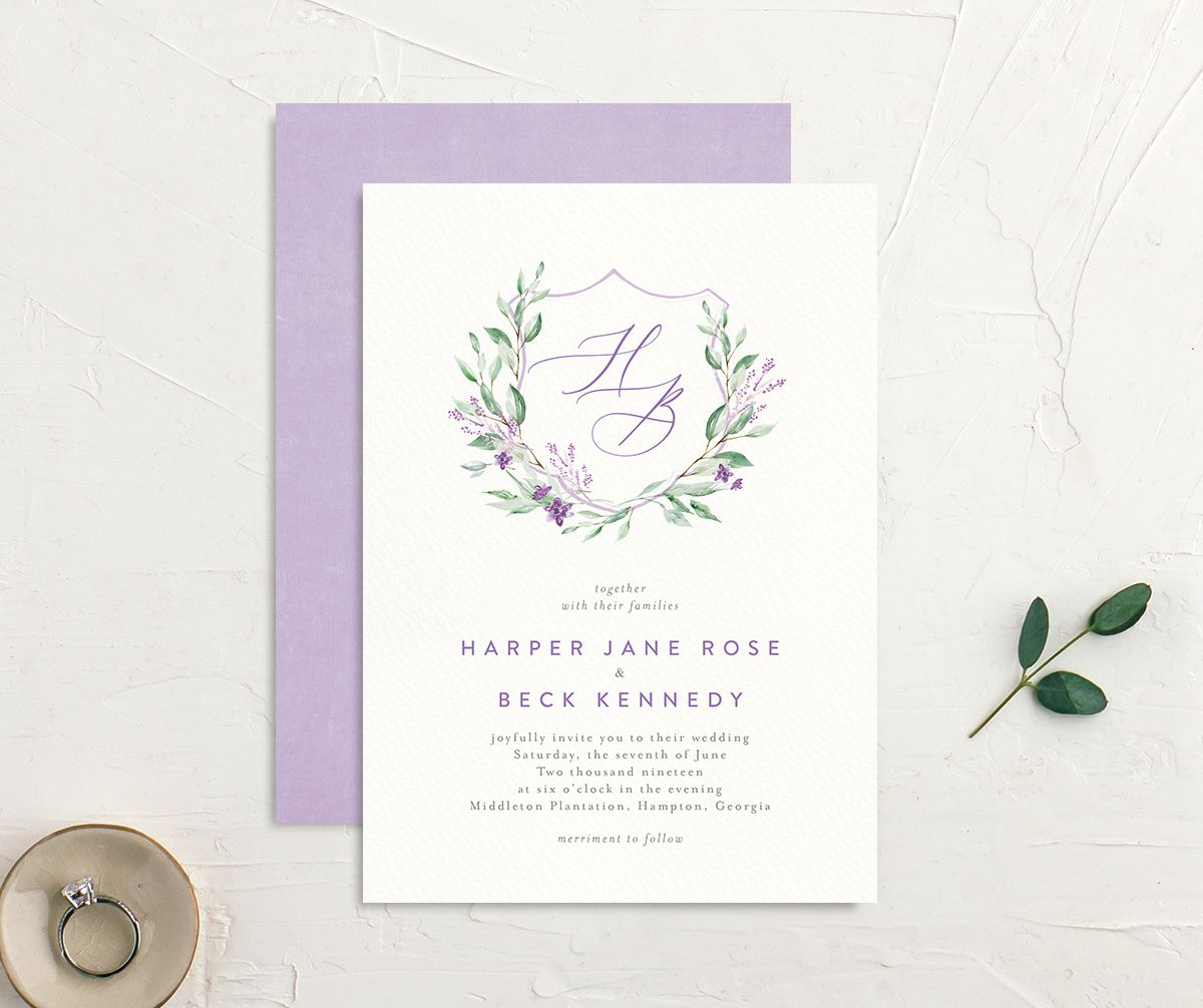 watercolor crest wedding invitation in purple