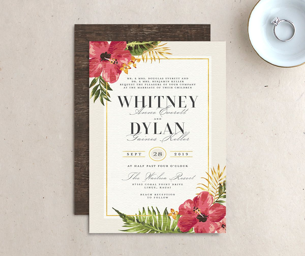 elegant paradise tropical wedding invites in cream