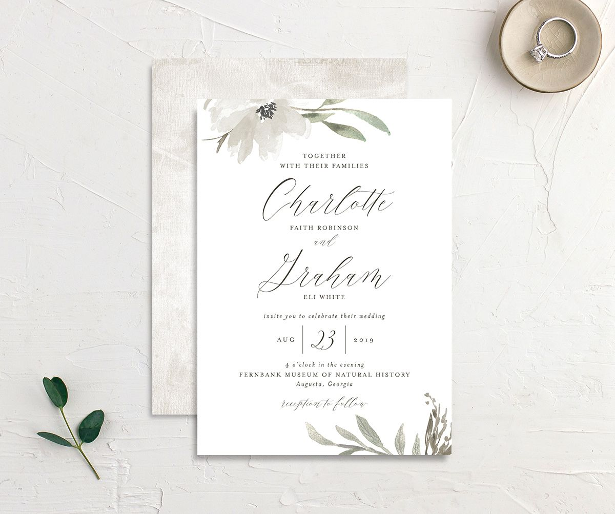muted floral wedding invites in white