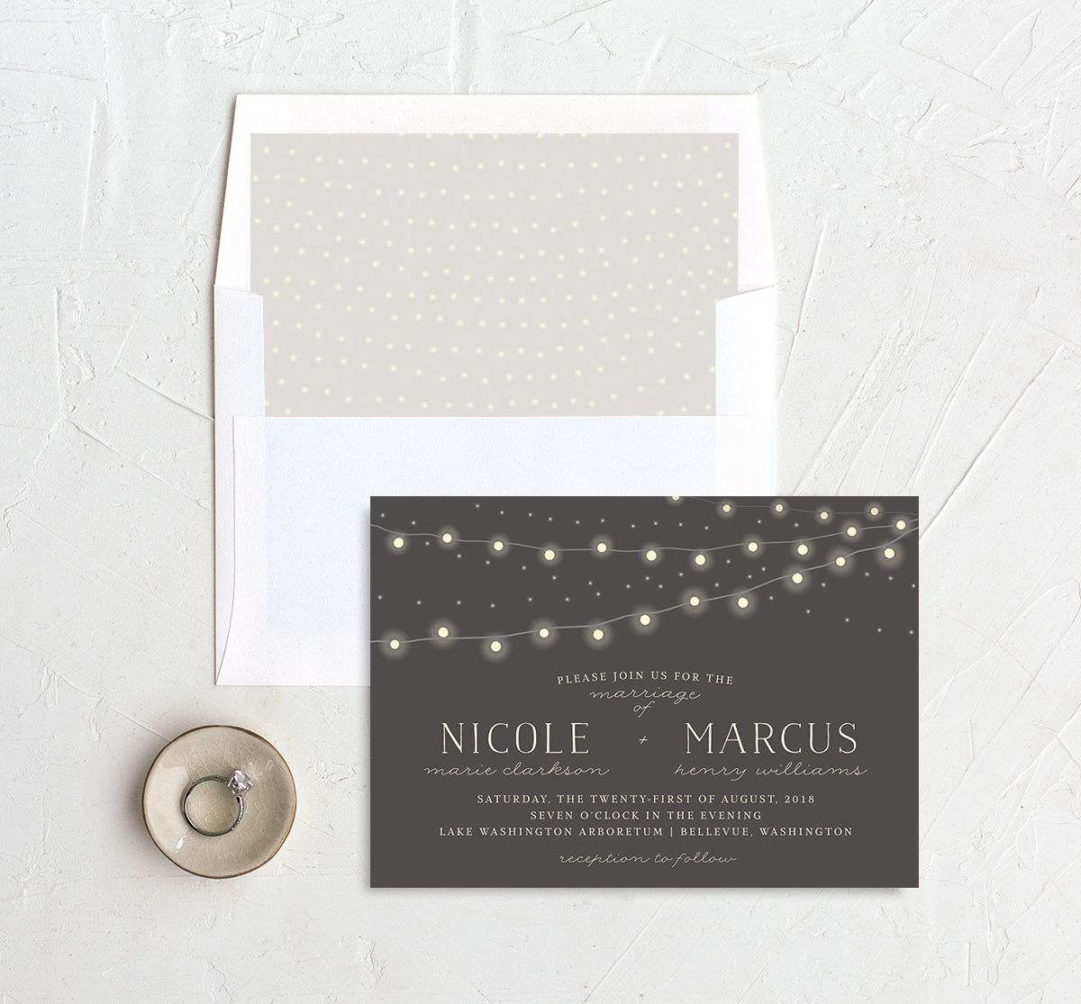 strung lights wedding invites with envelope liner