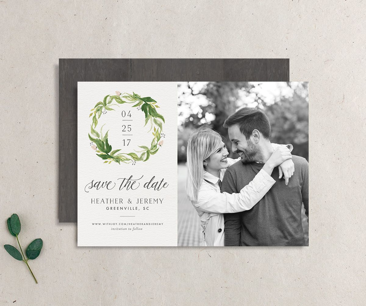 leafy wreath save the date cards