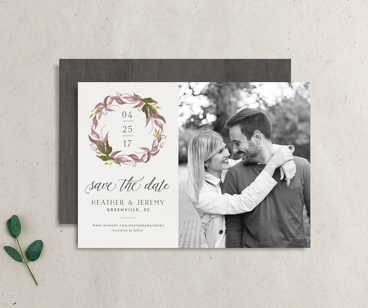leafy wreath rustic save the date card