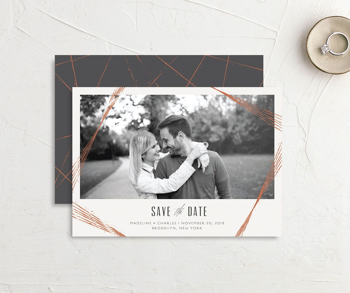 elegant industrial photo save the dates