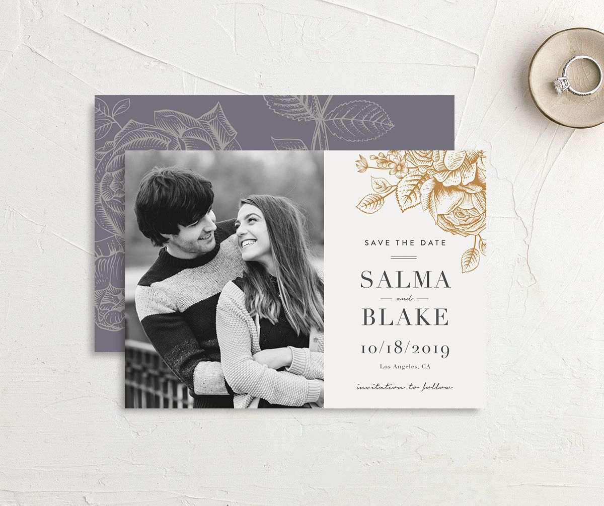 etched botanical photo save the date cards