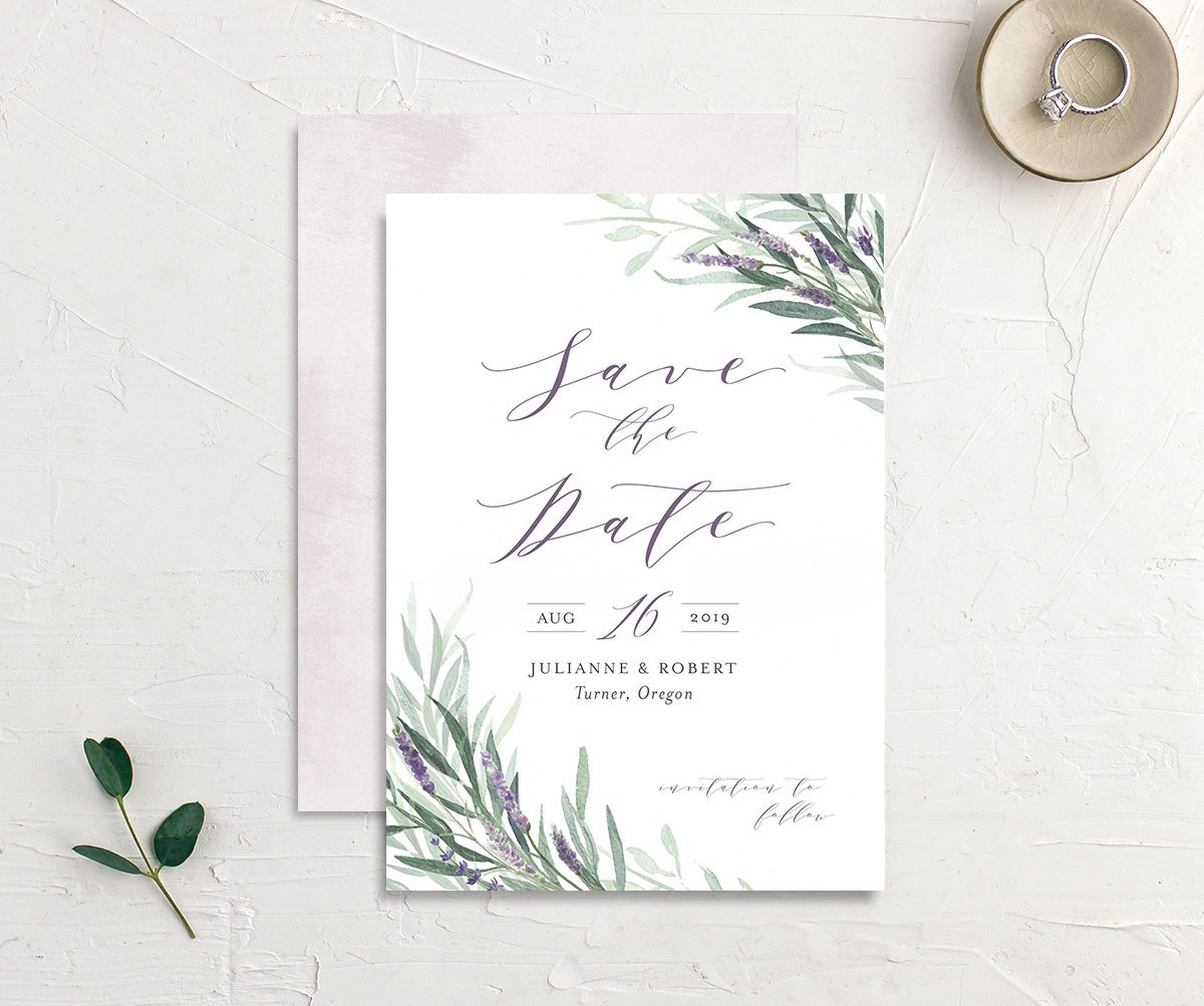 lavender sage save the dates