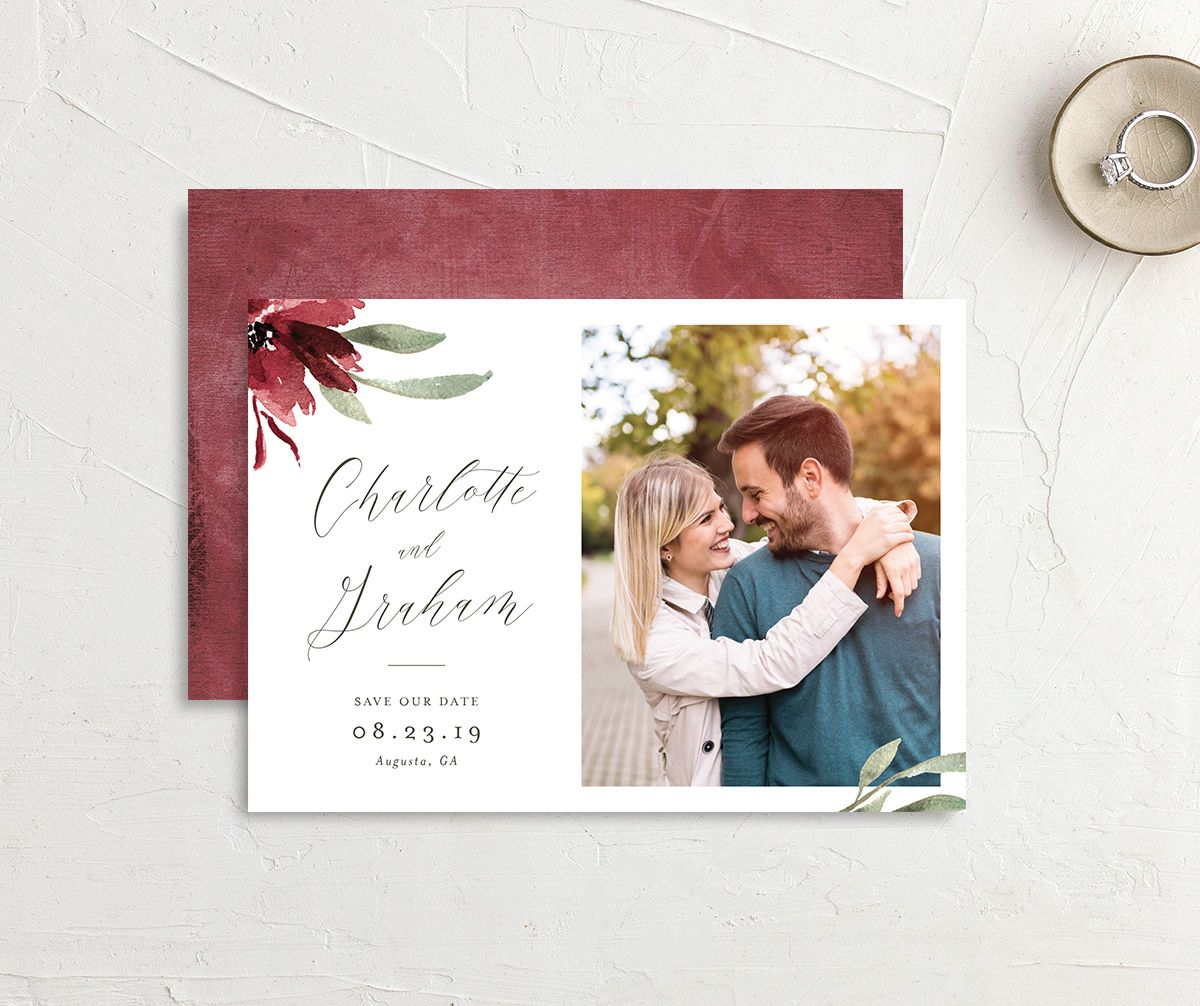 muted floral photo save the date in burgundy