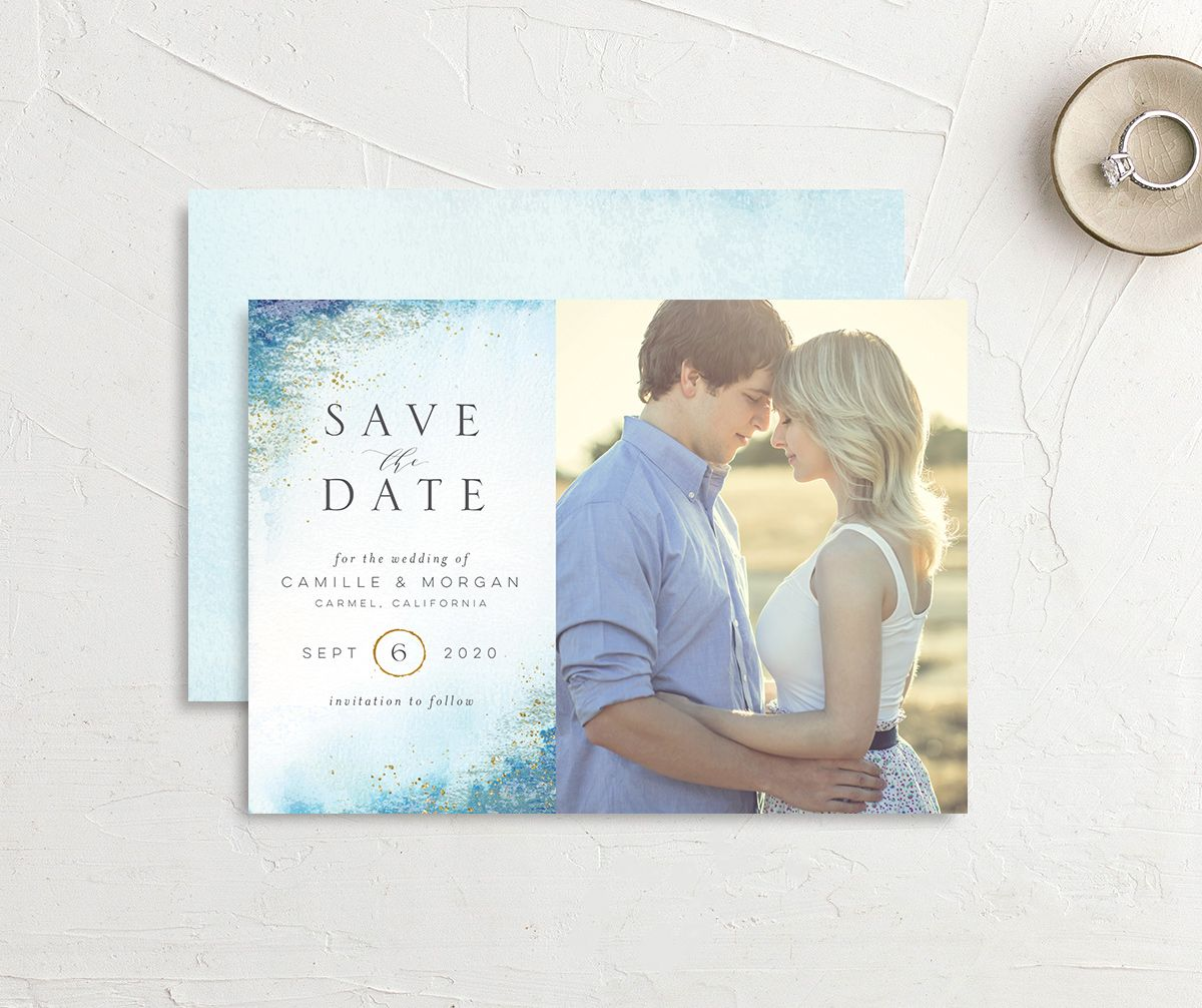 organic luxe photo save the date in blue
