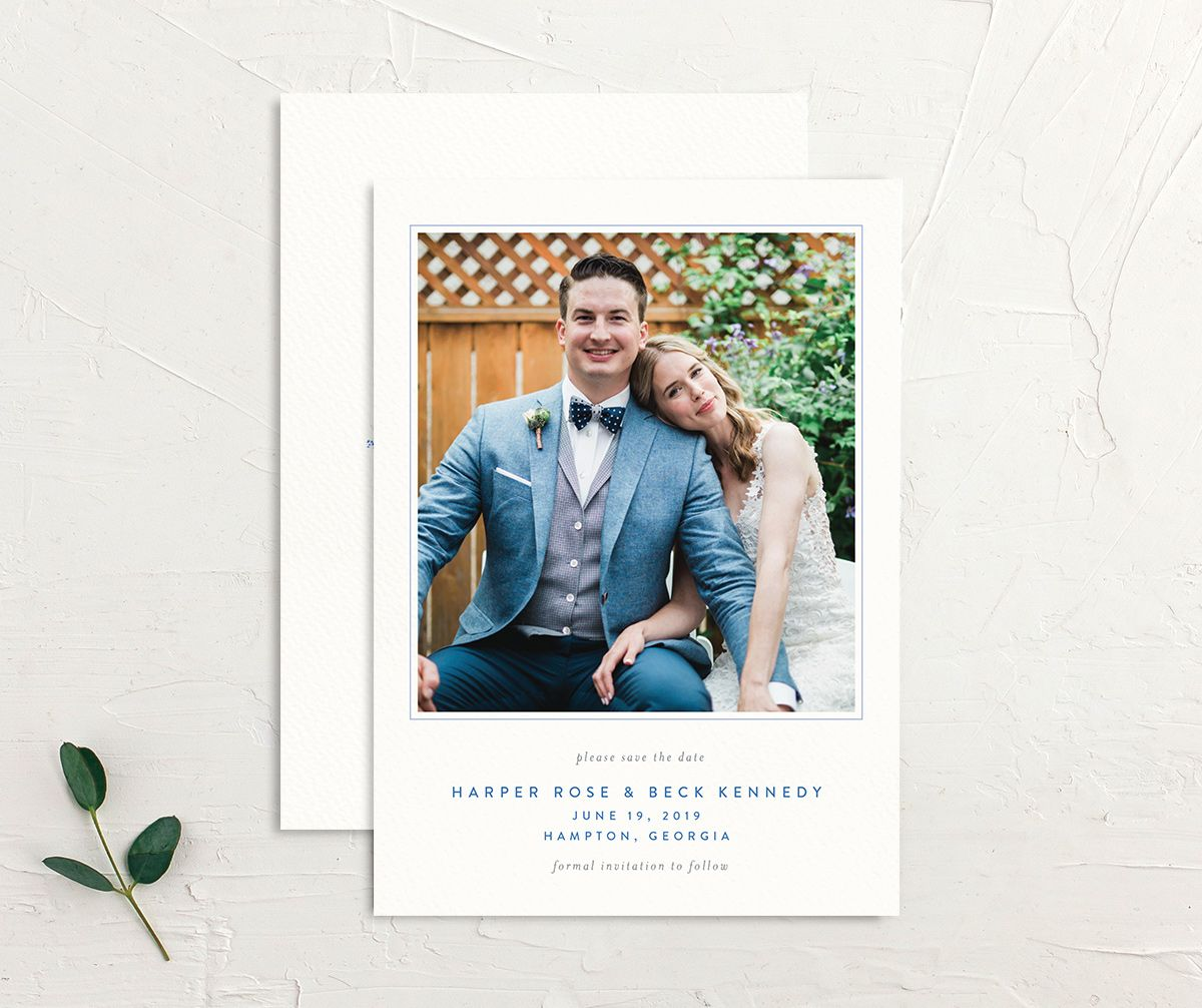 watercolor crest wedding save the dates in blue