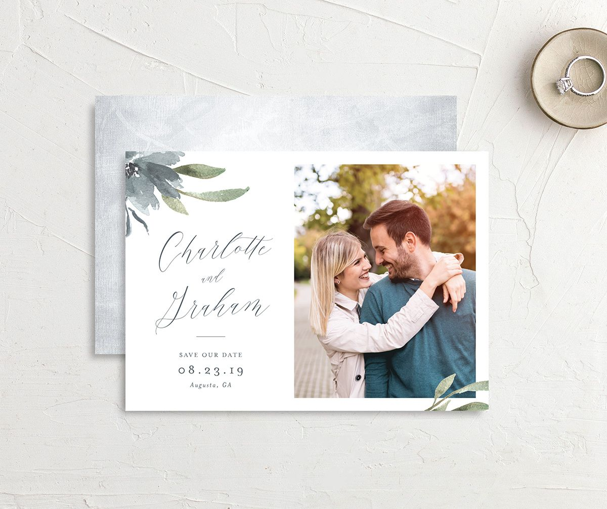 muted floral photo save the date in dusty blue