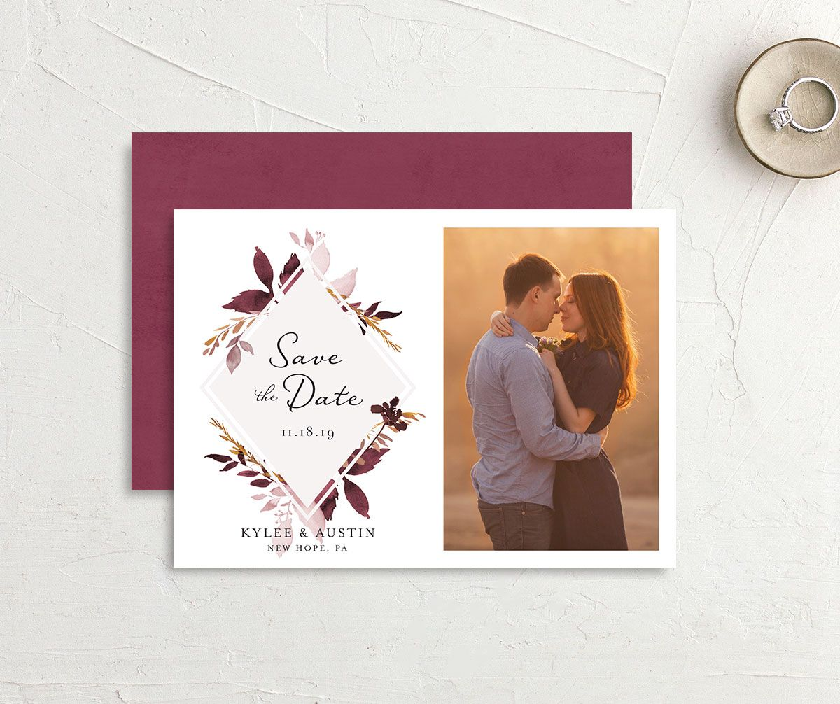 leafy frame save the dates in burgundy