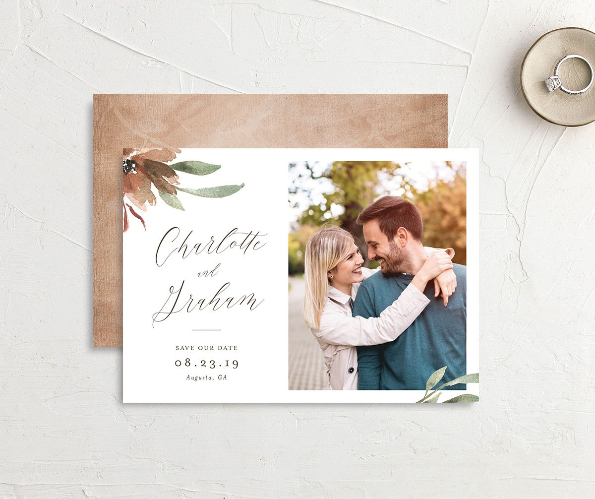 muted floral save the date cards in copper