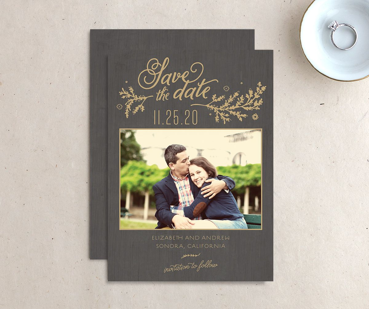 rustic chic save the date in gold
