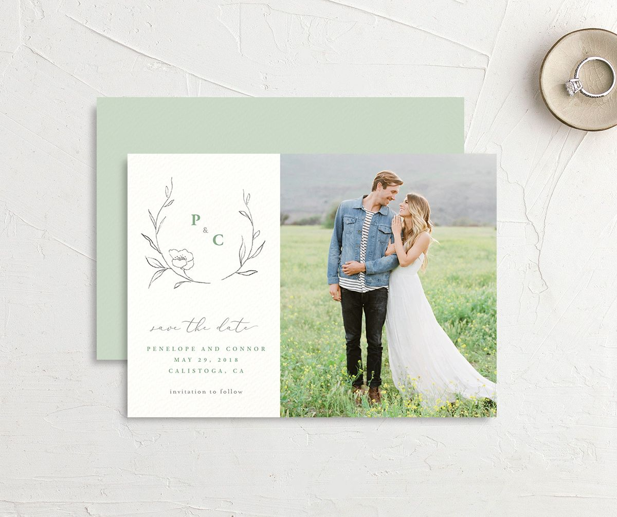 graceful botanical save the dates in green
