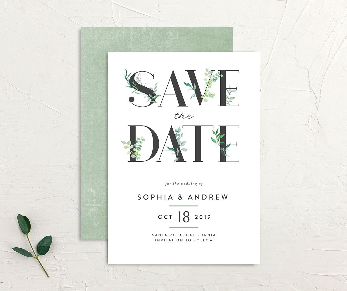 leafy ampersand save the dates in green