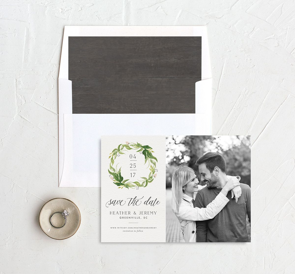 leafy wreath save the date