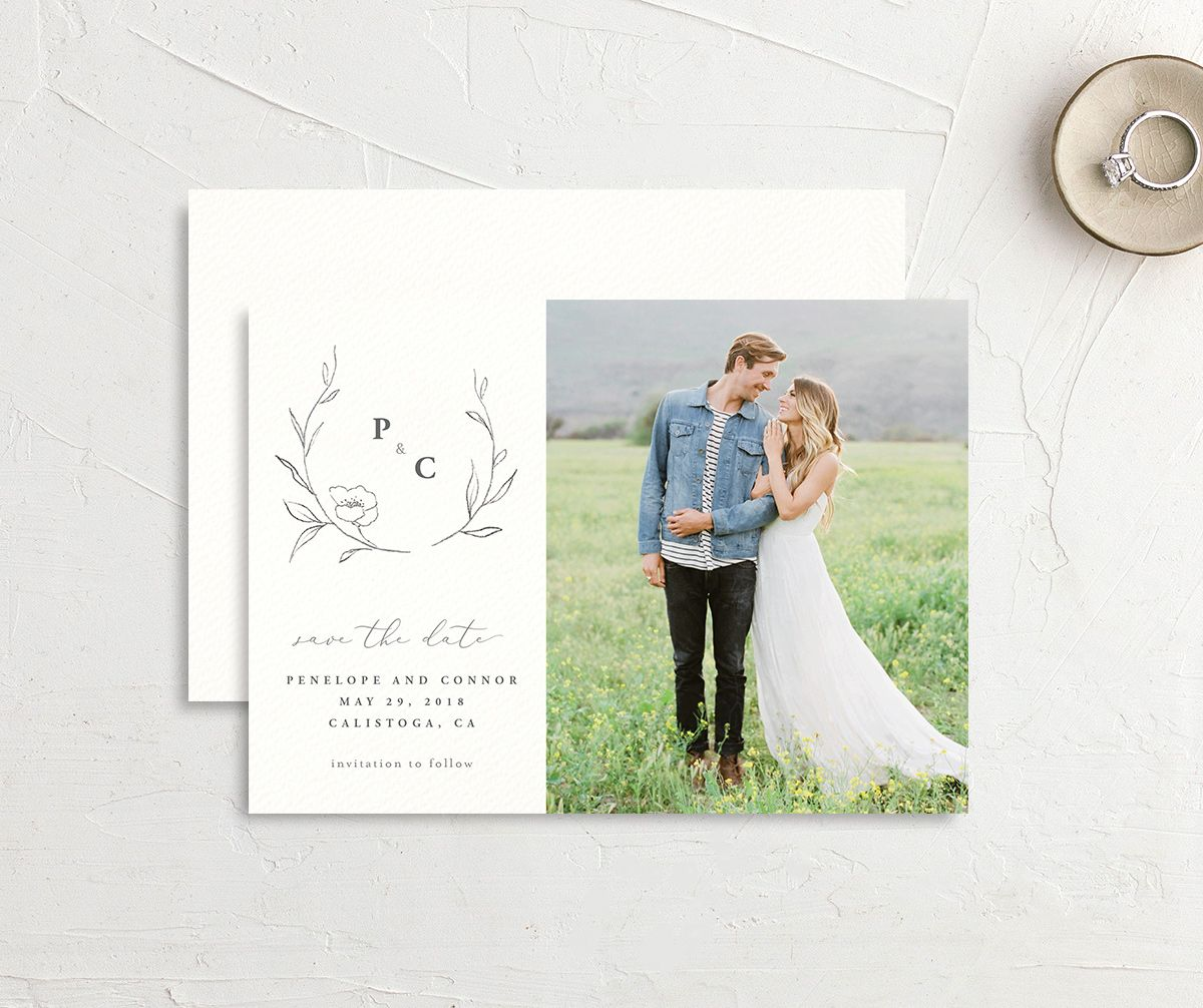 graceful botanical save the dates in grey