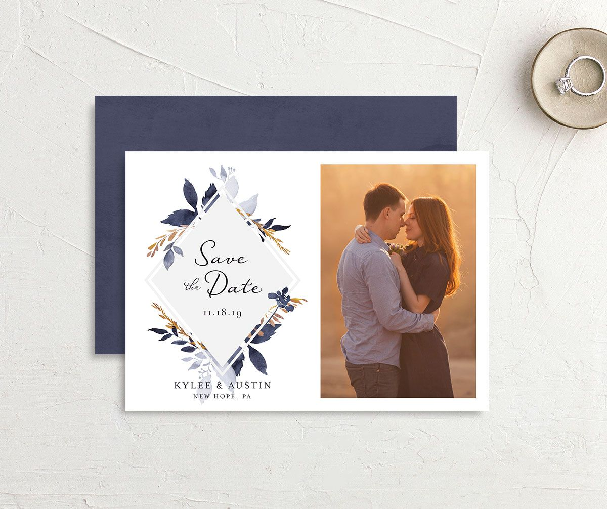 leafy frame save the dates in navy