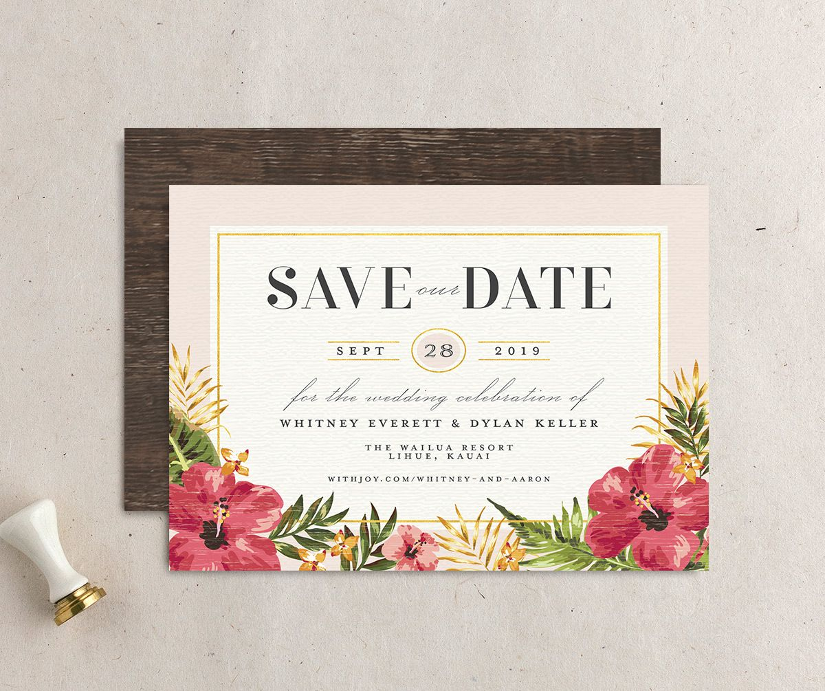 elegant paradise beach save the dates in pink