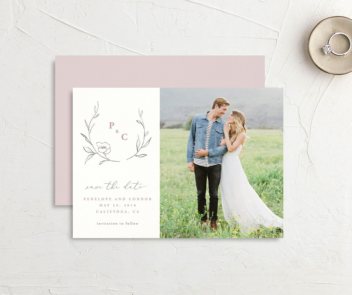 graceful botanical save the date in pink