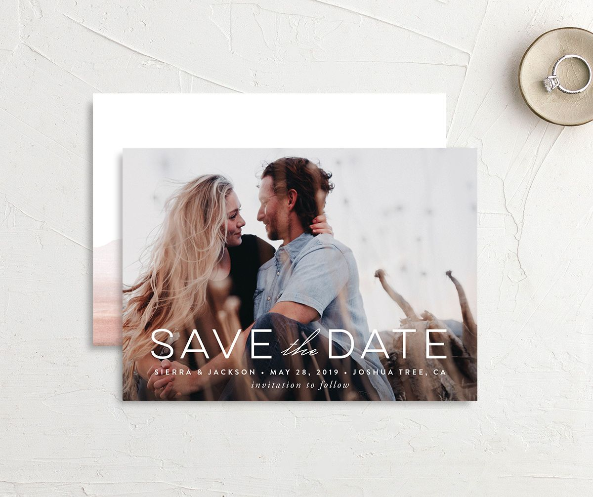 painted desert destination save the date cards in pink