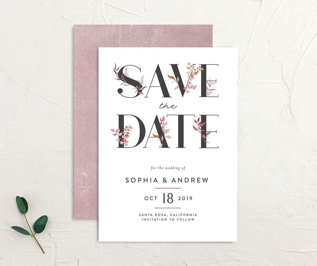 leafy ampersand save the date in purple