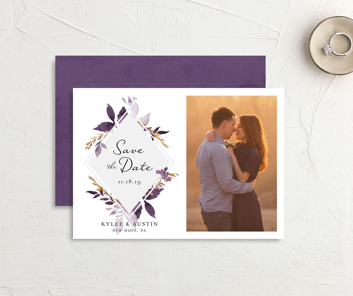 leafy frame save the dates in purple