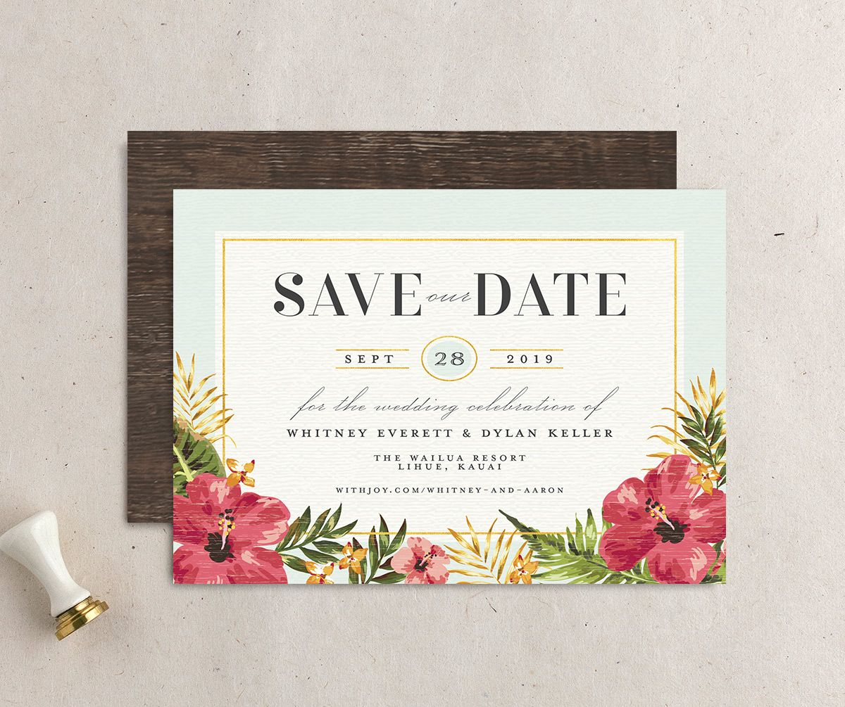elegant paradise save the dates in teal