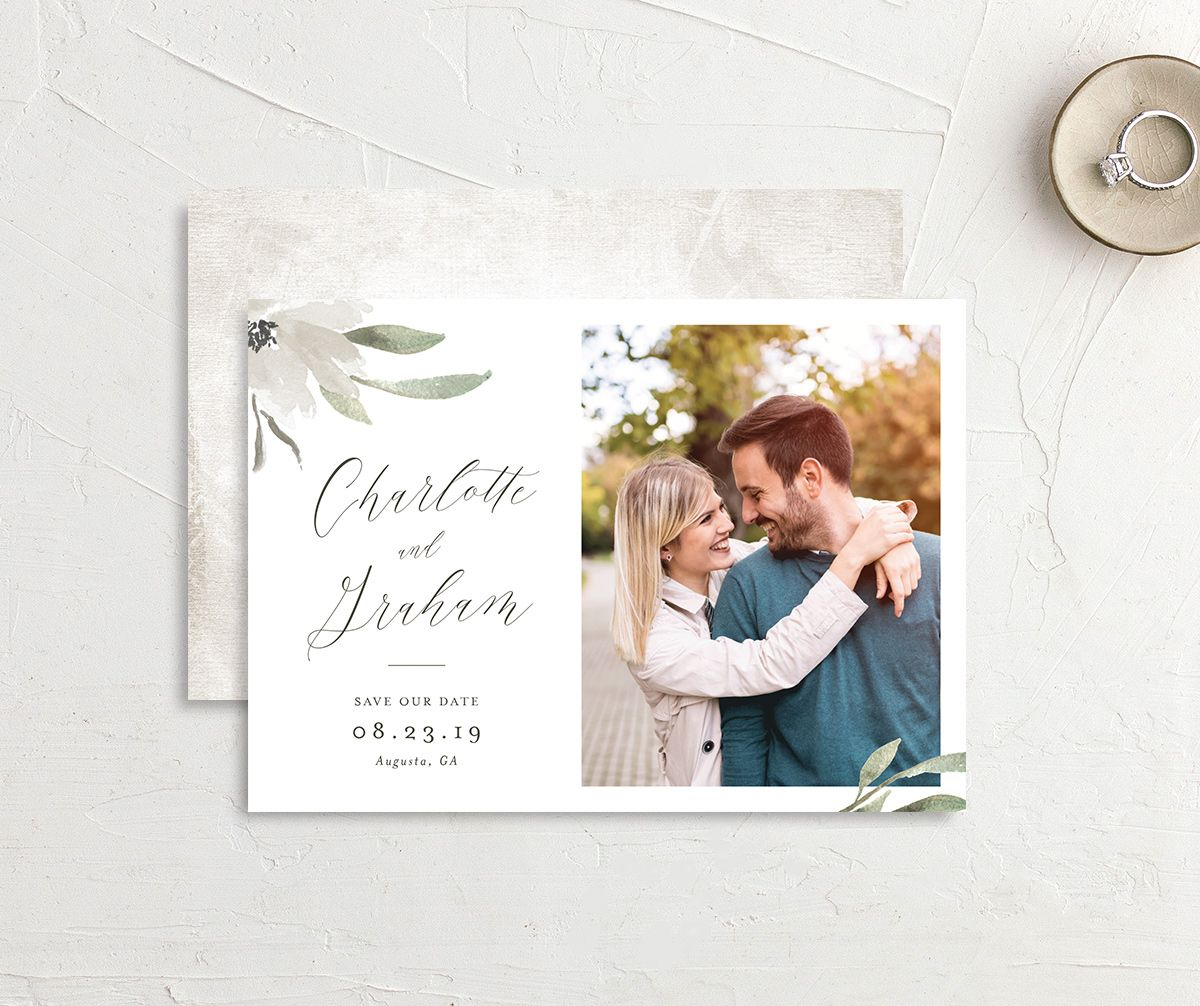 muted floral photo save the date cards in white