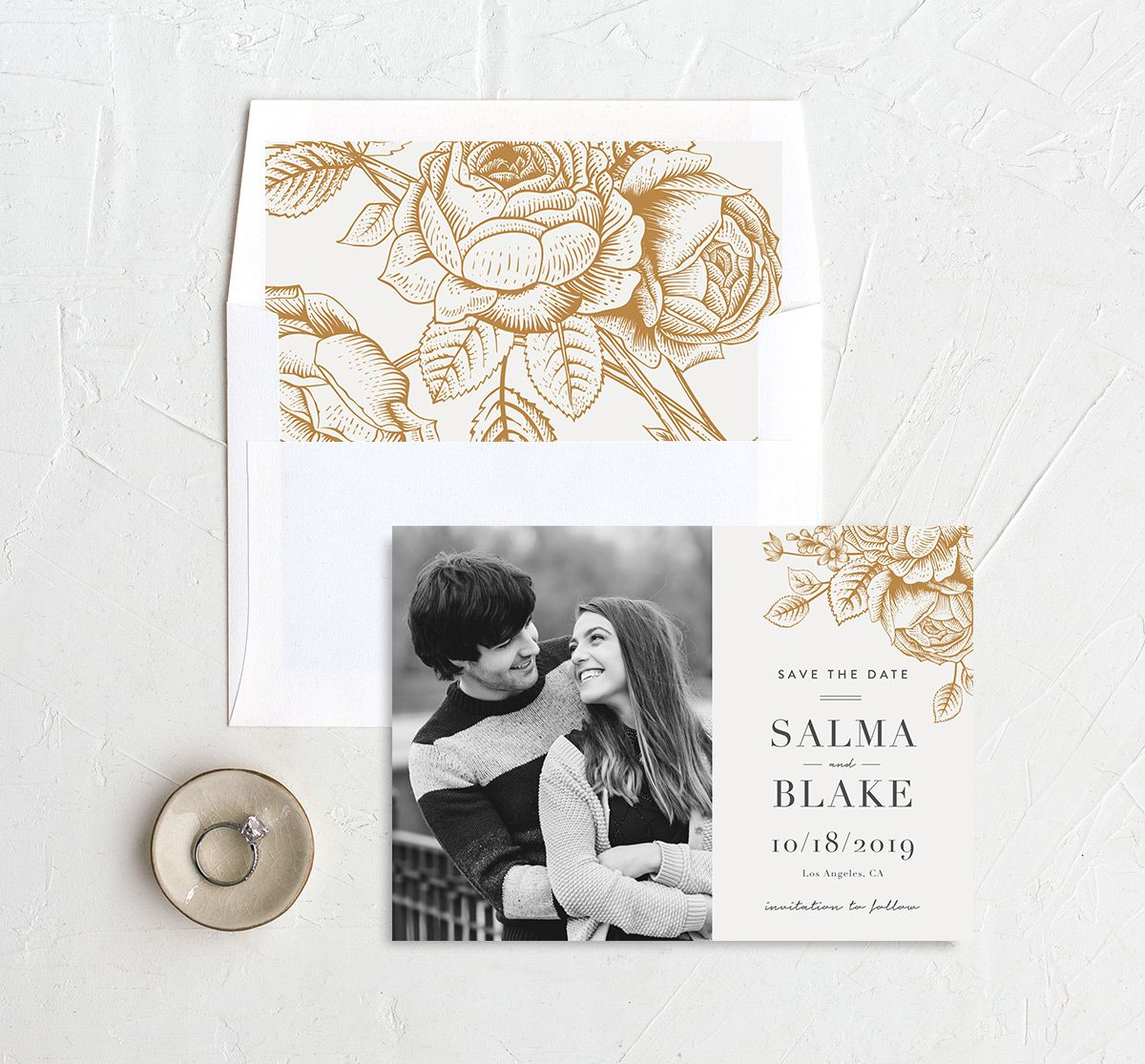 etched botanical photo save the date with envelope liner