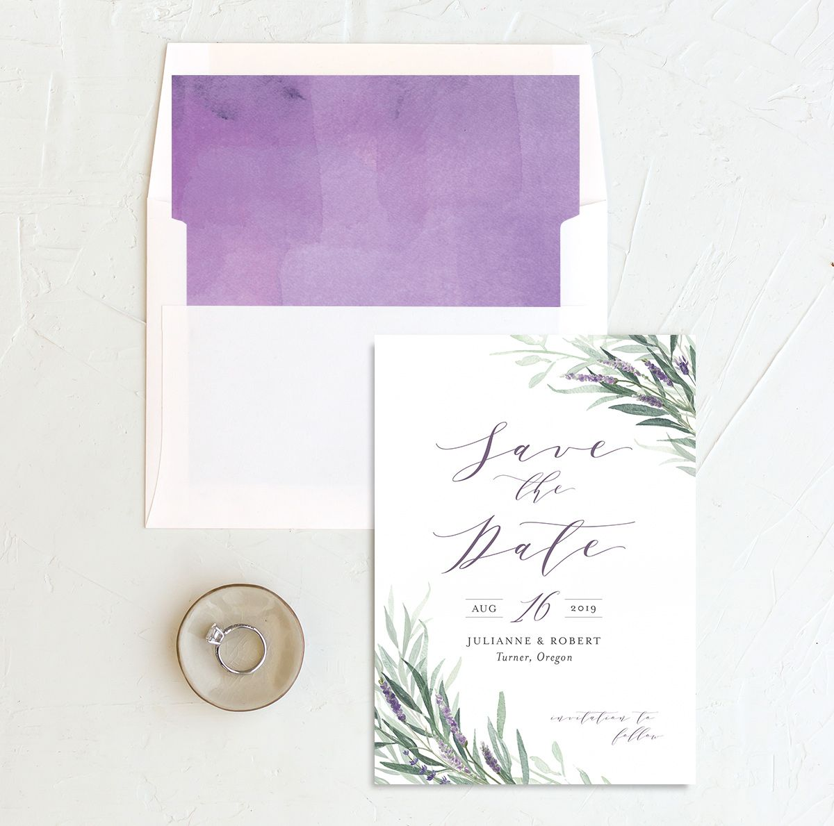 lavender sage save the dates with envelope liner