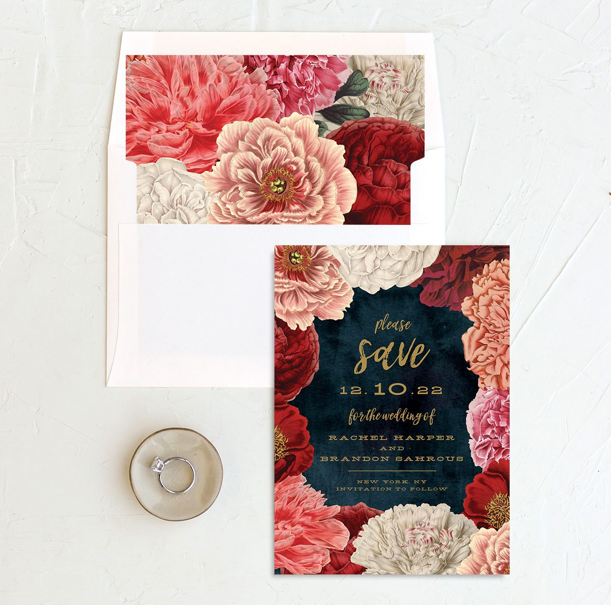 midnight peony save the date cards with envelope liners