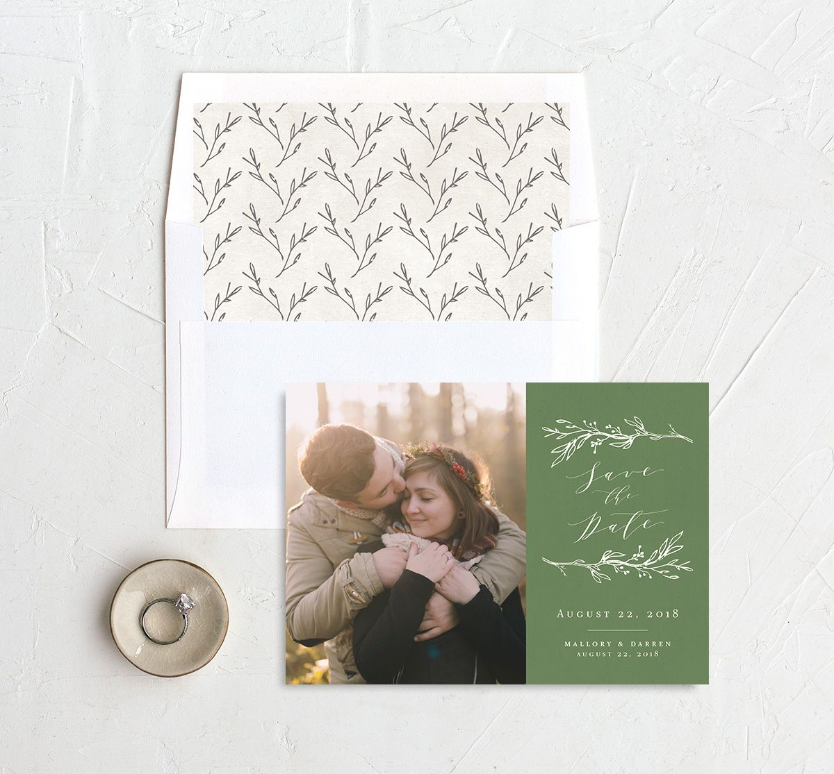 rustic elegance photo save the date cards with liners