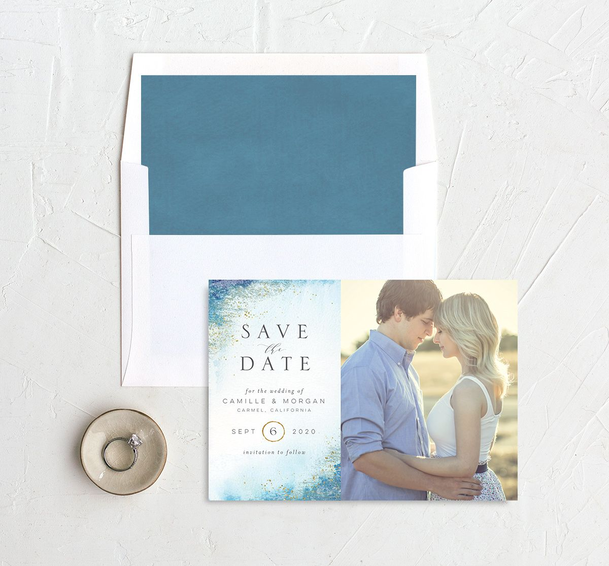organic luxe save the date cards in blue