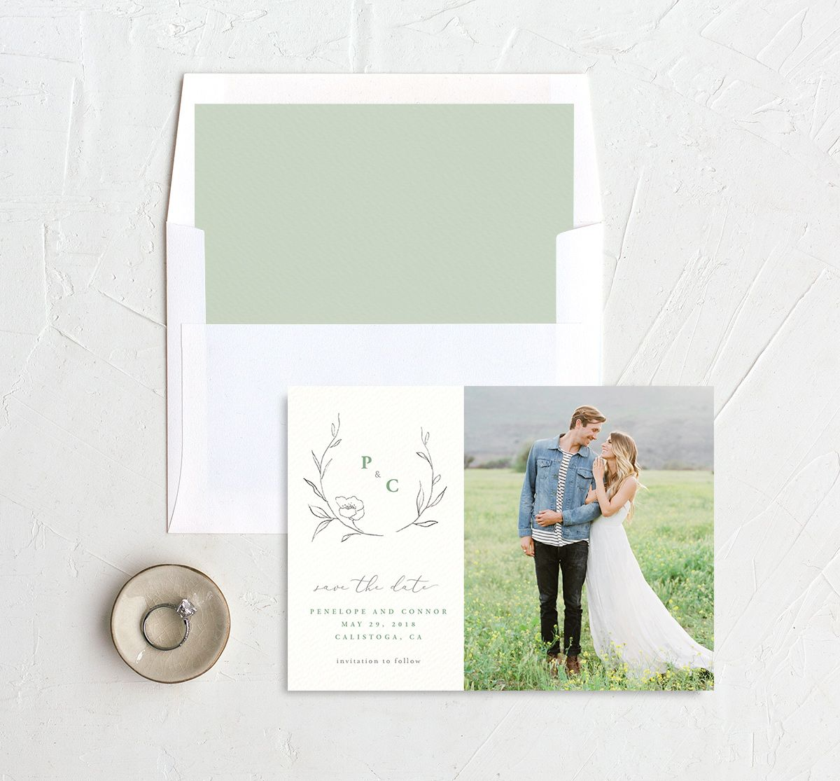 graceful botanical photo save the date cards in green with envelope liner