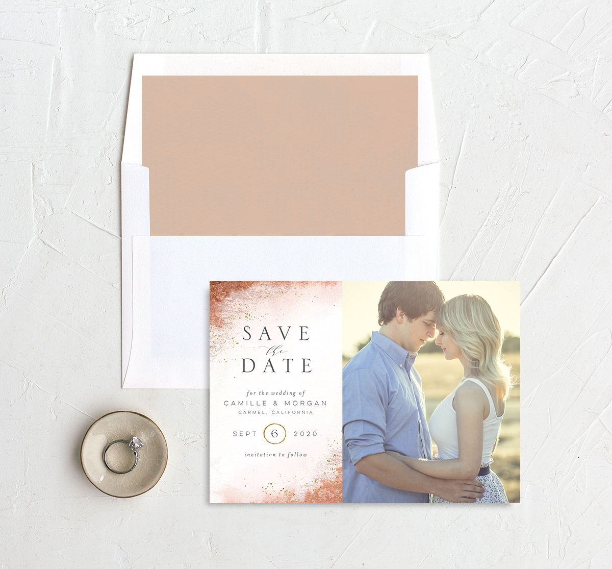 organic luxe photo save the date in orange