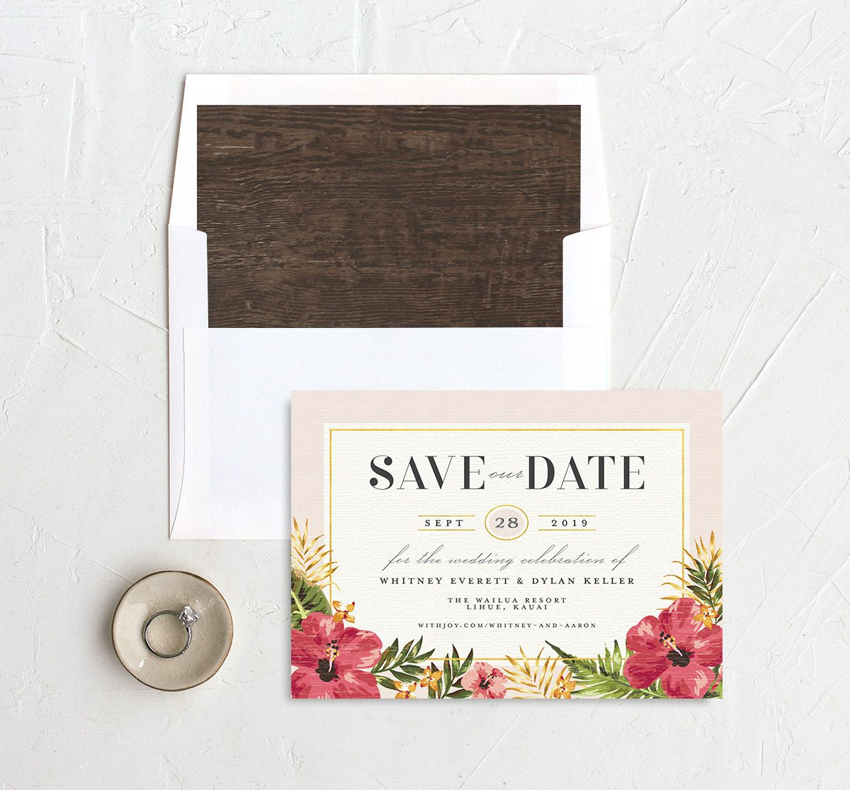 elegant paradise save the dates with envelope liner in pink