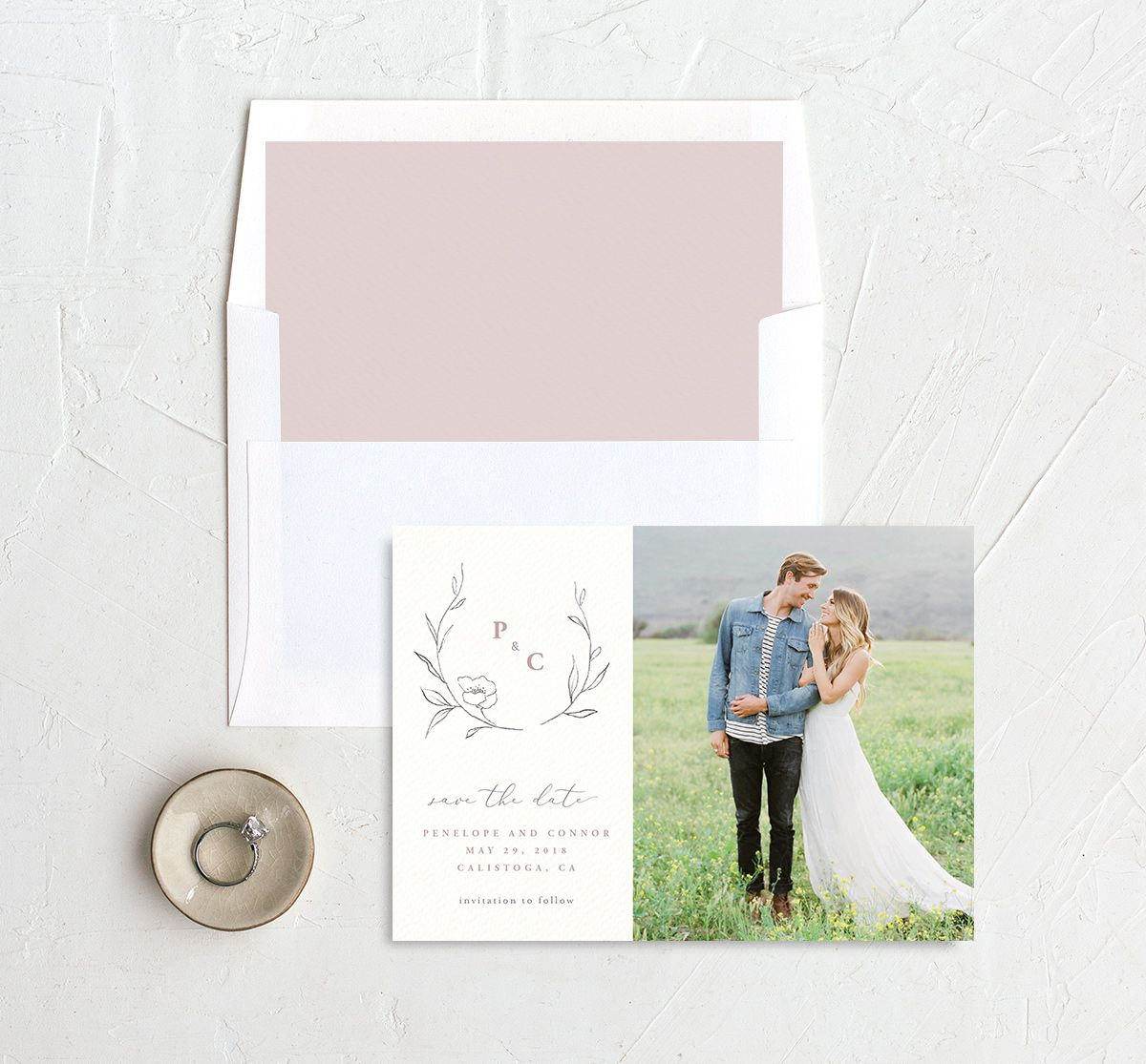 graceful botanical save the date cards in pink with envelope liner