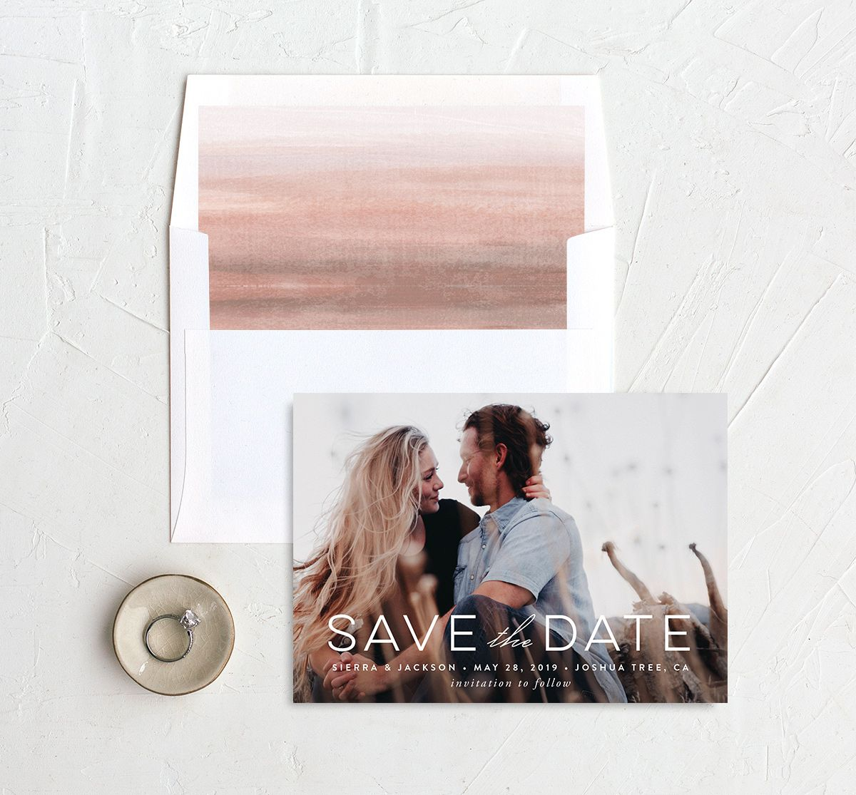 painted desert save the dates in pink with envelope liner