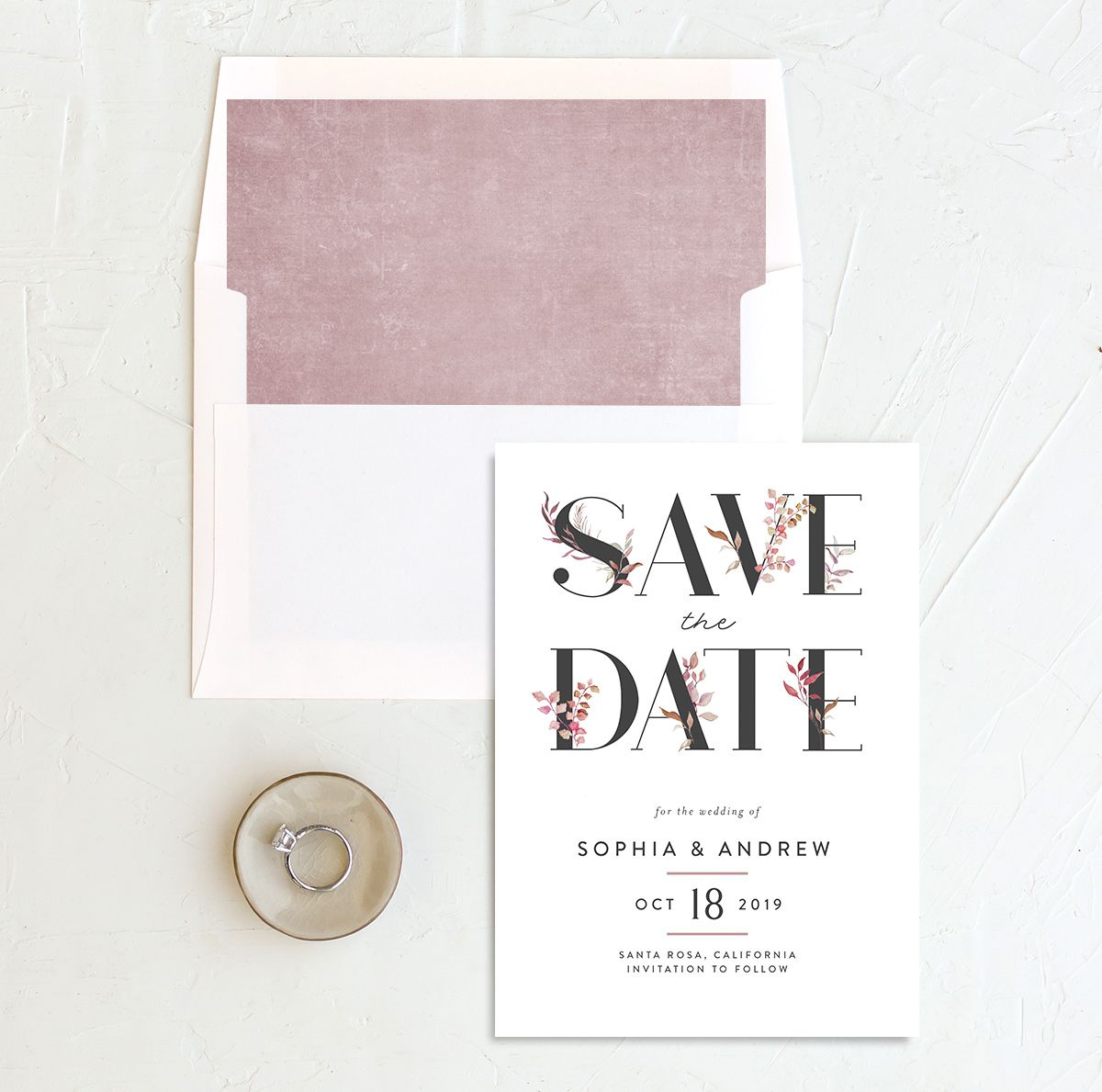 leafy ampersand save the date cards in purple with envelope liner