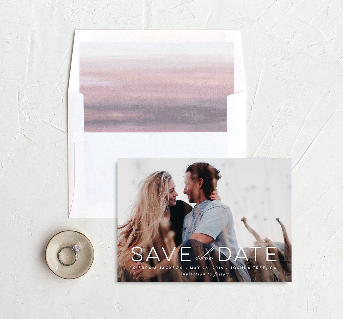 painted desert save the date in purple with envelope liner